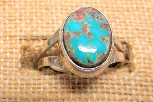 Bisbee Turquoise Ring Size 7 Oval with Matrix Size 7