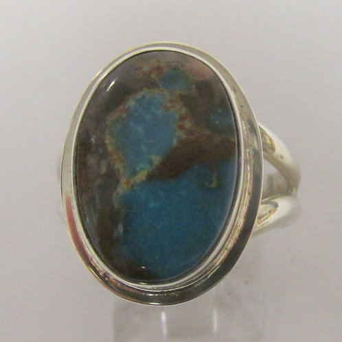 Sterling Silver Bisbee Turquoise Ring Size 7.25
