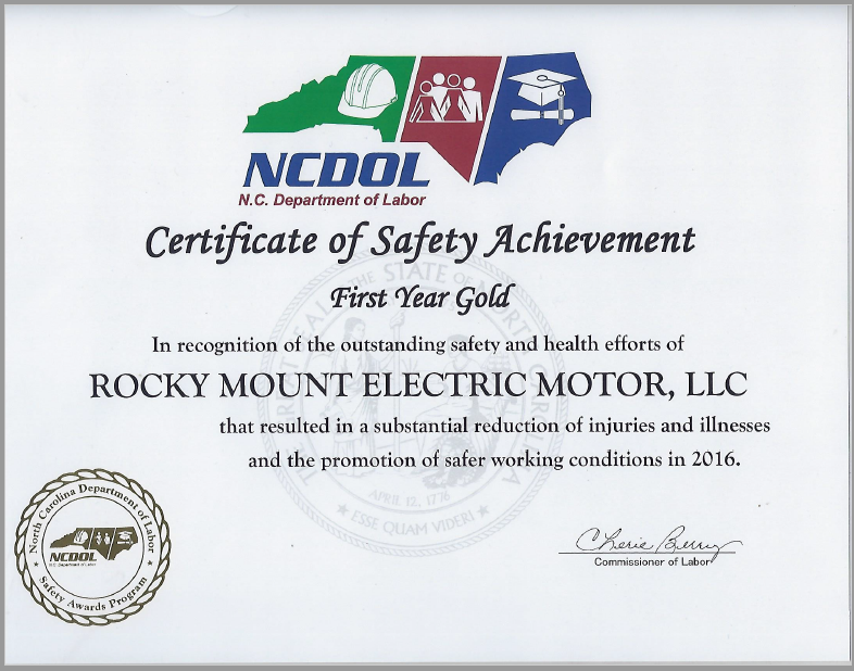 NCDOL Gold Award for Safety