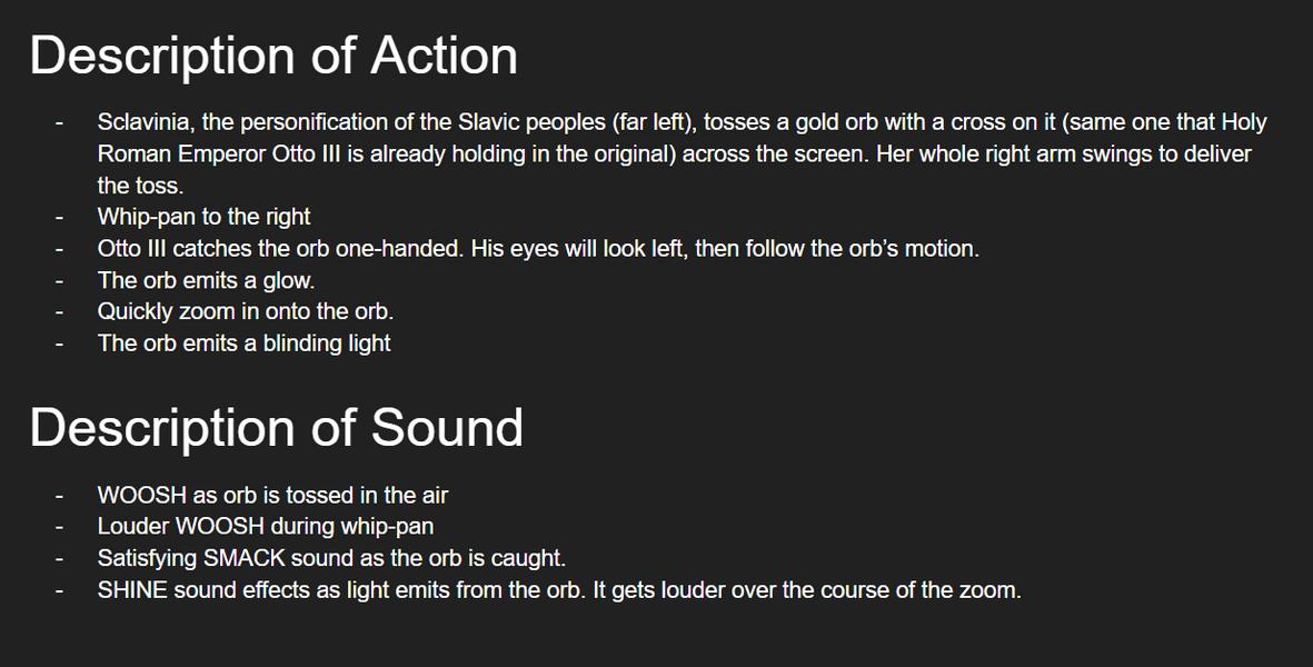 Description of action/sound
