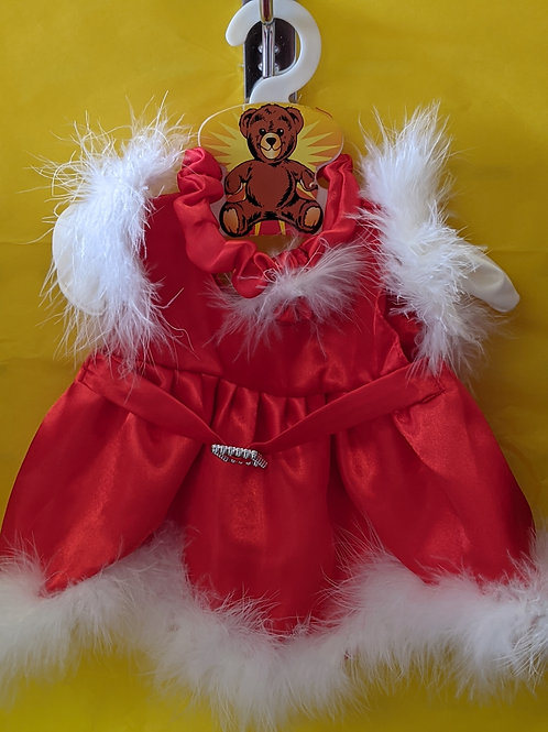 Red Satin Party Dress (with gloves)