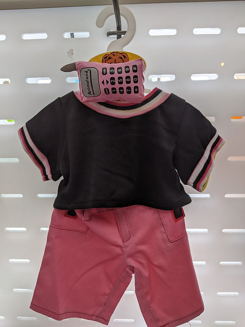 Pink and Black outfit with cell phone