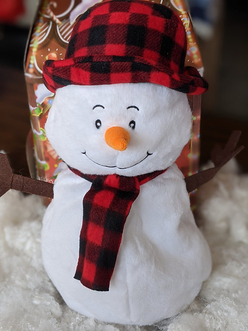 Snowman with Plaid Hat and Scarf