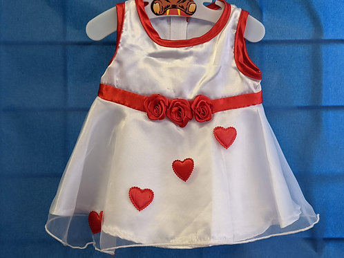 White Party Dress with Red Hearts