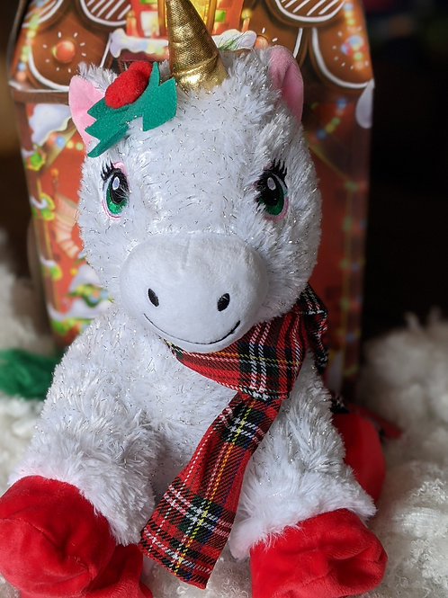Holiday Unicorn with Red Scarf