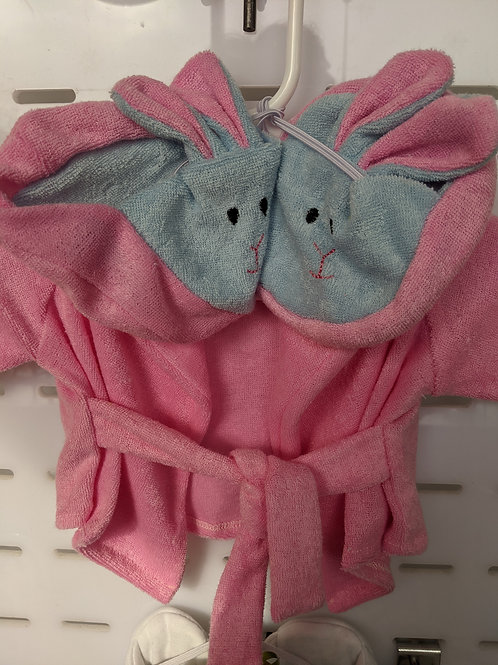 Pink  Robe with Bunny Slippers