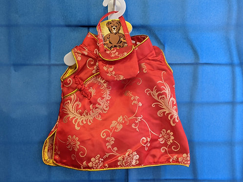 Red Satin Dress with Purse