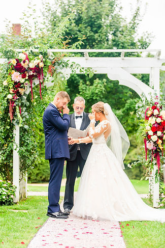 Antrim 1844 Taneytown fall wedding arch flowers burgundy and blush