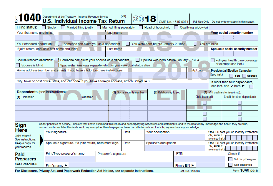 Draft Of 2018 Income Tax Return For Form 1040