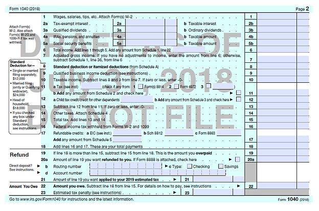 1040 Form 2018