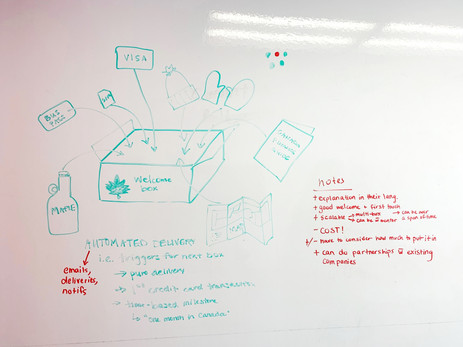 Whiteboard skech of the subscription box idea