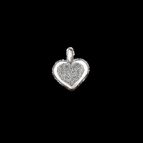 Elemento di fermo stopper con polvere di brillanti: cuore