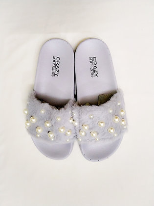 Fur Pearls Open Toe Flat