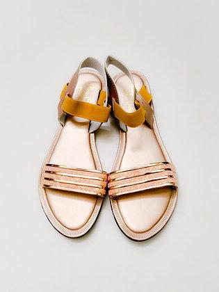 Flat Shining Wedge Sandal