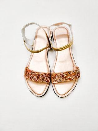 Crystal Wedge Flat Sandals