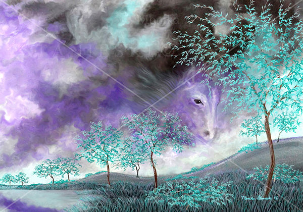 Canada, Monika Stanieski Painting, HORSE'S HEAVEN, Mauve and Green Landscape with a Beautiful Horse's Face in the Sky.