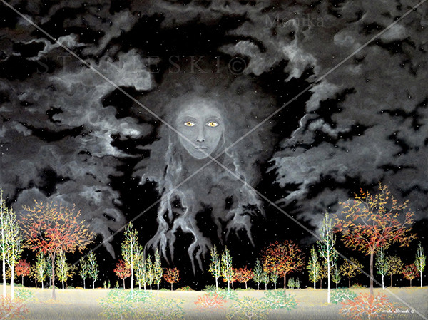 Canada, Monika Stanieski Painting, NIGHTWATCH, Fall Night Landscape with Face in the Sky