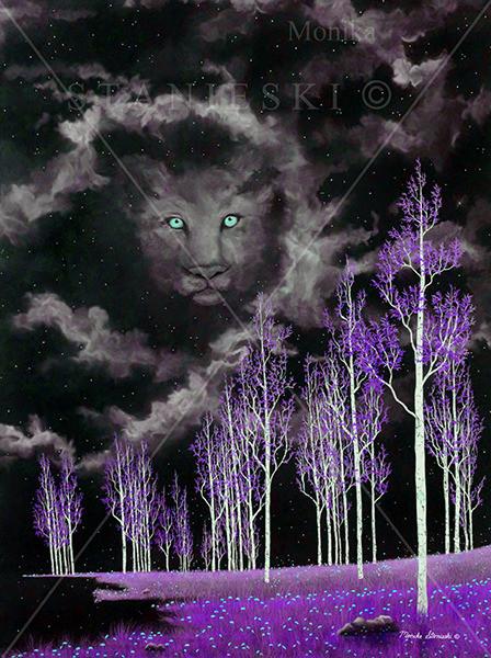 Canada, Monika Staniesk Painting, DANDYLION - Purple, Purple Night Landscape with Lion Face in the Sky
