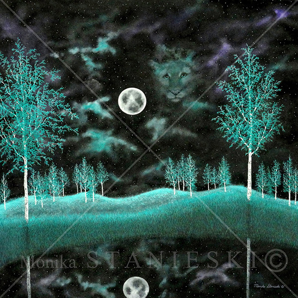 Canada, Monika Stanieski Painting, FOR ALL OF US, Night Landscape with a Cougar Face in the Sky