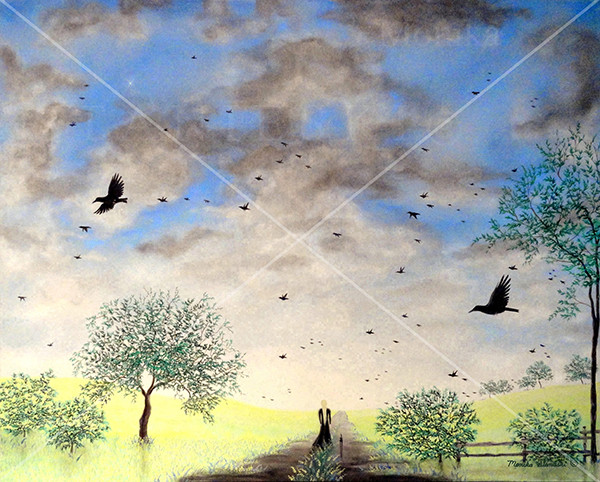 Canada, Monika Stanieski Painting, SELF AND CAT, Myself and my black cat walking down a path in a yellow field with crows in the sky.