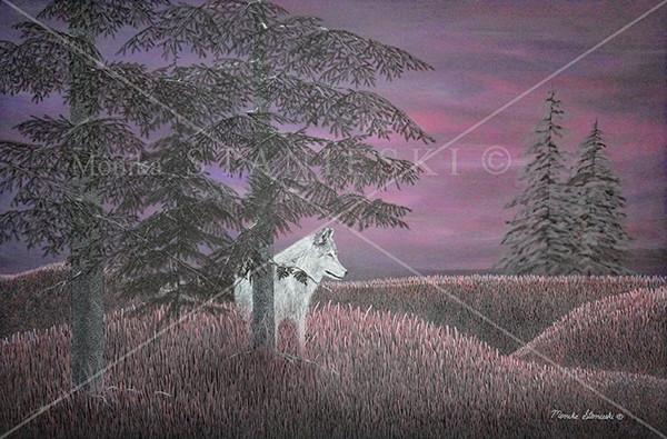 Canada, Monika Stanieski Painting, White Wolf on a mauve landscape