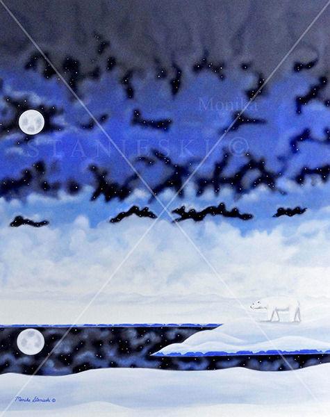 Canada, Monika Staniesk Painting, POLAR NIGHT, Blue Night Snow Landscape with a Polar Bear