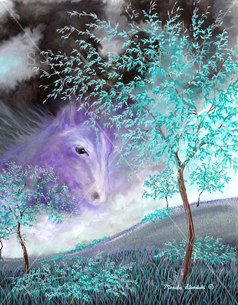 Canada, Monika Stanieski Painting, HORSE'S HEAVEN SKY, Mauve and Green Landscape with a beautiful Horse Face in the Sky