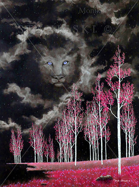Canada, Monika Stanieski, DANDYLION - Pink, Pink Landscape with a Lion Face in the Sky
