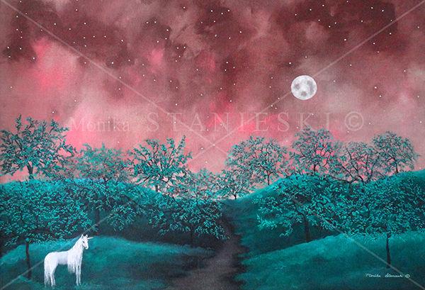 Canada, Monika Stanieski Painting, FOLLOW YOUR PATH, A Unicorn on a Night Landscape
