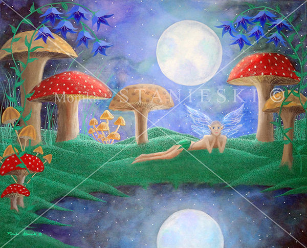 Canada, Monika Stanieski Painting, NIGHT FAIRY, Fairy laying on a moss covered landscape with mushrooms and flowers.