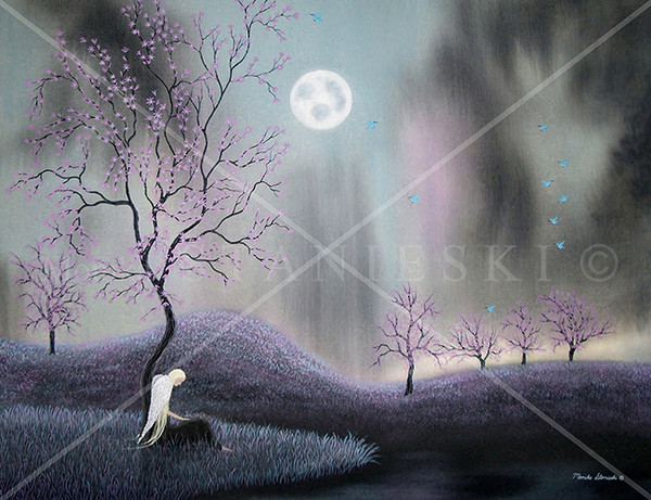 Canada, Monika Stanieski Painting, ONE FALLEN ANGEL, One Angel sitting under a pink flower tree in a night landscape with blue hummingbirds.