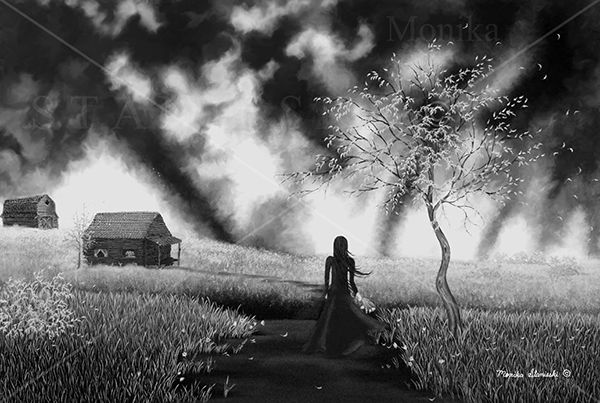 Canada,Monika Stanieski Painting, Do You Know Where She Lives - Black and White, Woman walking down a path in a country landscape with a stormy sky.