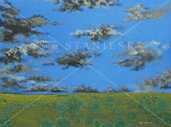 Canada, Monika Stanieski Painting, SKYHAWK, Green Detailed landscape with a hawk cloud in the sky
