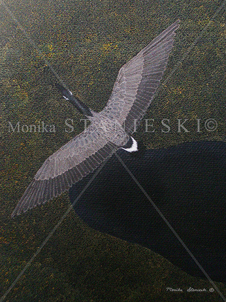 Canada, Monika Stanieski Painting, CANADIAN NIGHT FLIGHT, Canadian Goose Flying Over a Detailed Gold Landscape