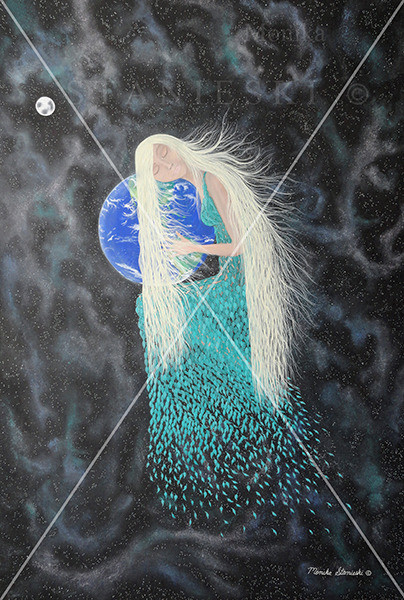 Canada, Monika Stanieski Painting, WHAT HAVE YOU DONE ! ? , Mother Nature in a Leaf Dress Holding the Earth and Crying