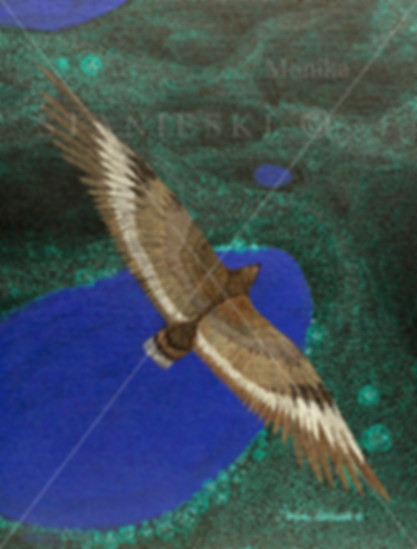 Canada, Monika Stanieski Painting, ABOVE IT ALL FOREVER, One Hawk Flying over a Detailed Landscape