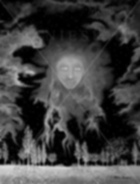 Canada,Monika Stanieski, NIGHTWATCH SKY - Black and White, Black and White Night Landscape with a Face in the Sky