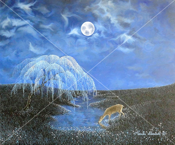 Canada, Monika Stanieski Painting, REFLECTION, Blue Night Landscape with one large willow tree and one deer drinking water out of a pond.