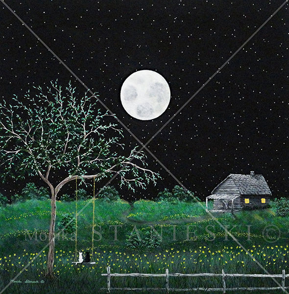 Canada,Monika Stanieski Painting, NIGHTCATS, Night Landscape with a white cat and a black cat sitting on a swing under a tree