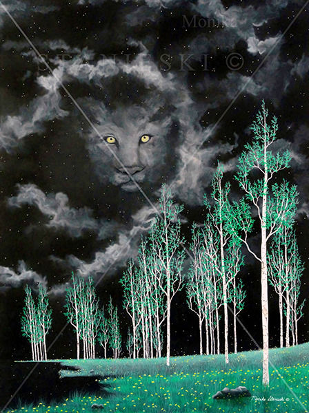 Canada, Monika Staneski, Green Night Landscape with Lion Face in the Sky