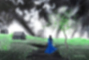 Canada, Monika Stanieski Painting, DO YOU KNOW WHERE SHE LIVES ?, Woman in a blue dress walking down a path in the country in a green landsape with a stormy sky.