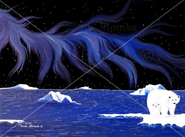 Canada, Monika Stanieski Painting, ICE, Mother Polar Bear and Cub on iceberg with Blue Northern Lights
