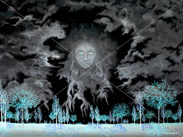 Canada, Monika Stanieski Painting, NIGHTWATCH - Blue, Blue Night Landscape with Face in the Sky.