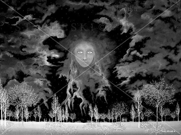 Canada, Monika Stanieski Painting, NIGHTWATCH, Black and White Night Landscape with a Face in the Sky.