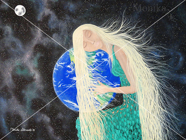 Canada, Monika Stanieski Painting, WHAT HAVE YOU ONE ! ? - Cry - Mother Nature holding the Earth and Crying.