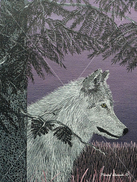 Canada, Monika Stanieski Painting, DUSK, A White Wolf sitting under a Pine Tree on a Mauve Landscape