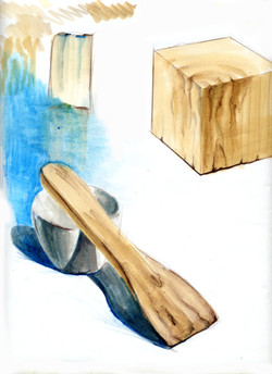 wooden spoon + cup