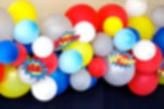 Superhero theme balloon arch, dessert table sydney