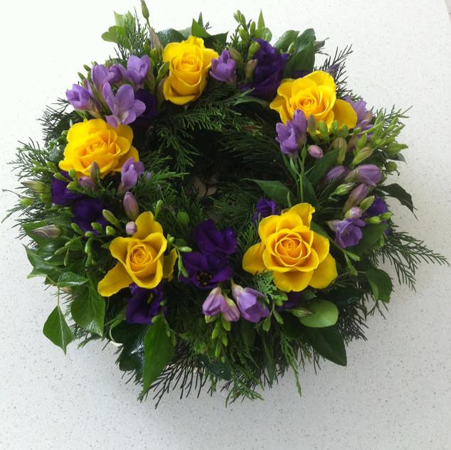 Roses and freesias wreath