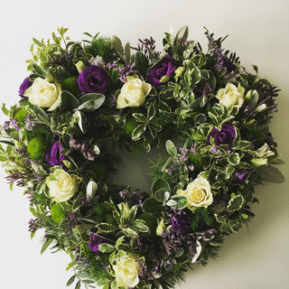White and purple open heart